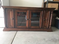 Brown wooden framed glass cabinet Los Angeles