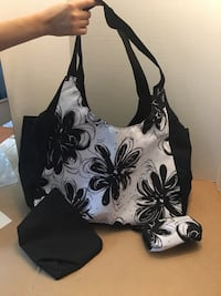 NEW. Black and White floral bag 34 mi
