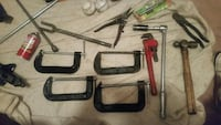four black steel C-clamps and red and black steel  Baltimore, 21207