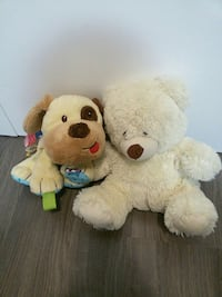 two dog and bear plush toys