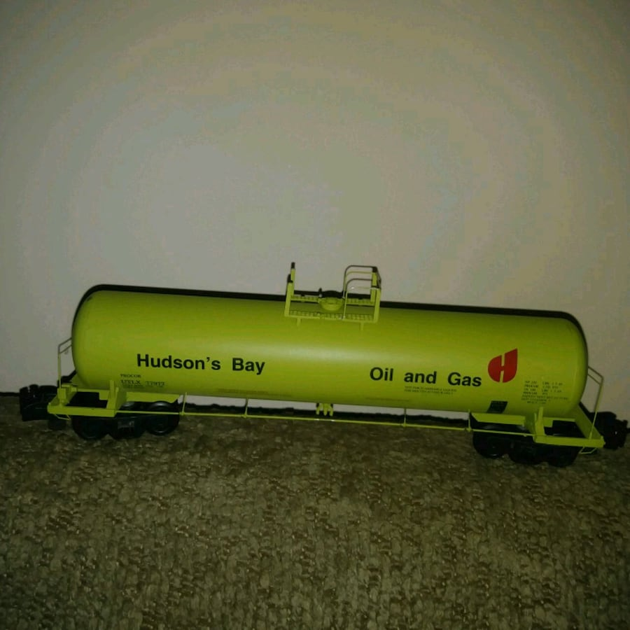 Hudson's Bay Oil and Gas metal toy tanker / train