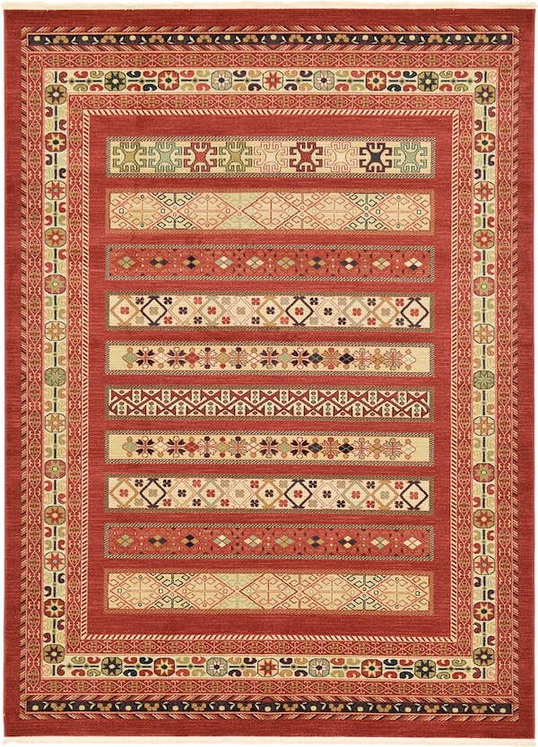 Brand new area rug size 8x10 nice red carpet Persian style rugs multi design