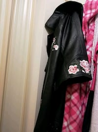 black and pink floral leather zip-up jacket Edmonton, T5H 3B4