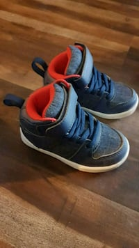 pair of blue Air Jordan basketball shoes