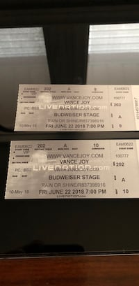 Vance Joy Tickets- Bud Stage June 22 Toronto, M4L 3X9