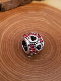 Red Zirconia with hollow Hearts European Charm