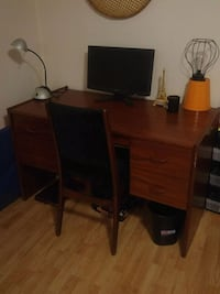 Solid teak work desk and chair London
