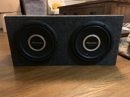 """Pioneer ib-flat shallow-mount 12"""" subwoofers & amp in subwoofer box"""
