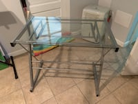 DESK with glass top & gray metal base Silver Spring, 20910