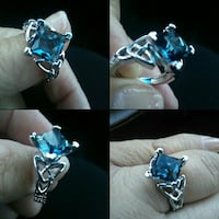 silver-colored blue gemstone ring collage Yuba City, 95991