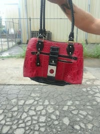 red and black leather tote bag Tulsa, 74115