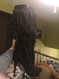 New/Never worn suede-like tassle boots!