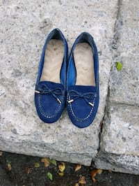 pair of blue suede loafers Laval