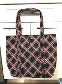 "New Open Top Vera Bradley ""VERA"" Tote Shopping Bag Black Minsk Plaid Chicago, 60611"