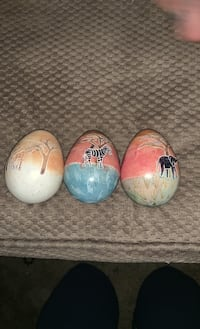 African Stone Eggs hand carved painted Stone eggs
