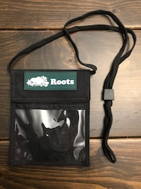 Roots name tag holder lanyard.