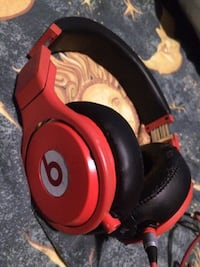Red and black beats corded headset Cambridge
