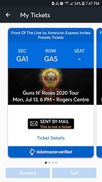 PIT TICKETS For Guns and Roses one pair Welland, L3B 4T3