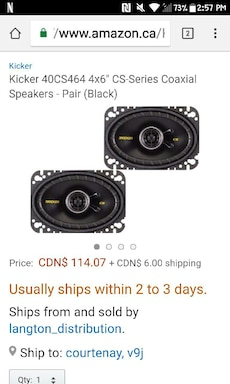 two black Kicker 40CS464 subwoofers