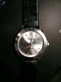round silver-colored analog watch with black leather strap San Antonio, 78214