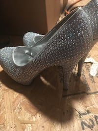 pair of gray glittered platform stilettos Tallahassee, 32309