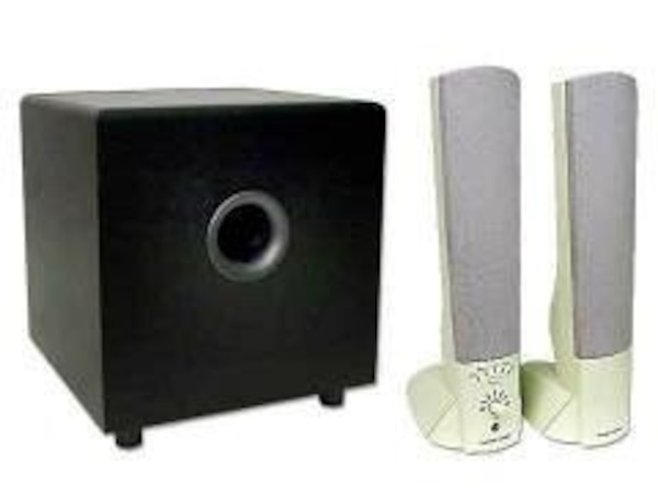 black and gray multimedia speaker