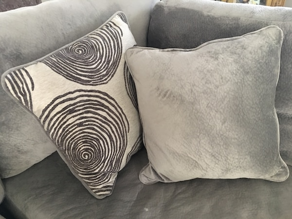 Cool Sofa Couch Chair Or Bed Brand New Never Used Reversible Pillows High Quality Swirl Design One Side Soft Velour Med Grey Color 2 Ft X 2 Ft Never Used Andrewgaddart Wooden Chair Designs For Living Room Andrewgaddartcom