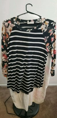black/white striped tee with floral sleeves  Provo, 84604