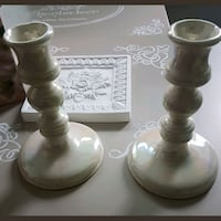 mother of pearl candle holders.  Whitby, L1N 8X2