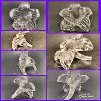 Beautiful VTG Crystal Stretch  Glass Flower-Smaller (see all pics)