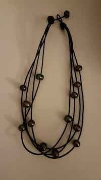 Custom Made Black Leather & Black Pearl Necklace Coquitlam, V3B 7M5