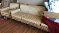 brown and white striped fabric sofa Kelowna, V1X 5K6