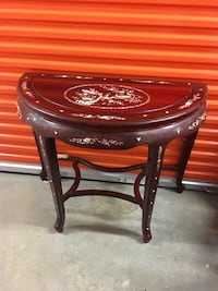 Chinese half Moon Table, Mother of Pearl, Rosewood. The price is firm. 32 inches high, 39 inches back wide. Alexandria, 22315