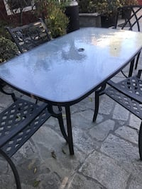 Patio table and 4 WRot Iron Patio Chairs Upland, 91784