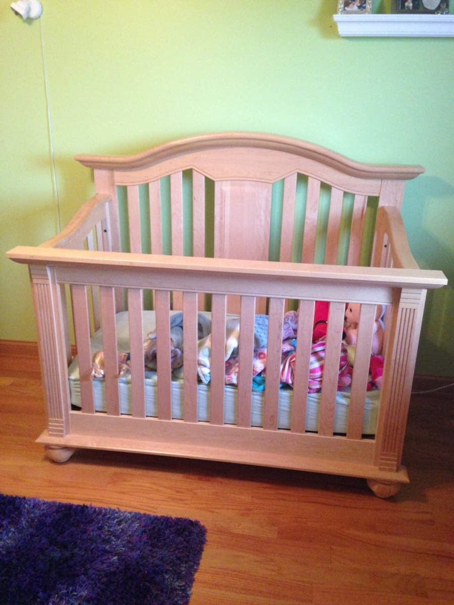 Two solid maple wooden convertible cribs - Oak Forest