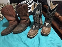 Pair of brown leather cowboy boots size 8 men  Midland