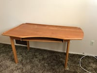 Brown wooden  computer table from Crate and Barrel Alhambra, 91803