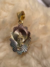 Tricolor Virgin Mary Oval Pendant