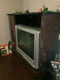 brown wooden framed glass cabinet Los Angeles, 90007