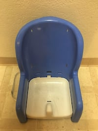 baby's blue and white floor seat