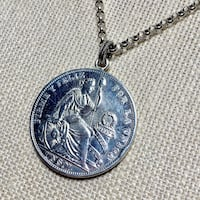 Antique Peruvian Silver Coin Pendant with Sterling Silver Chain Ashburn, 20147