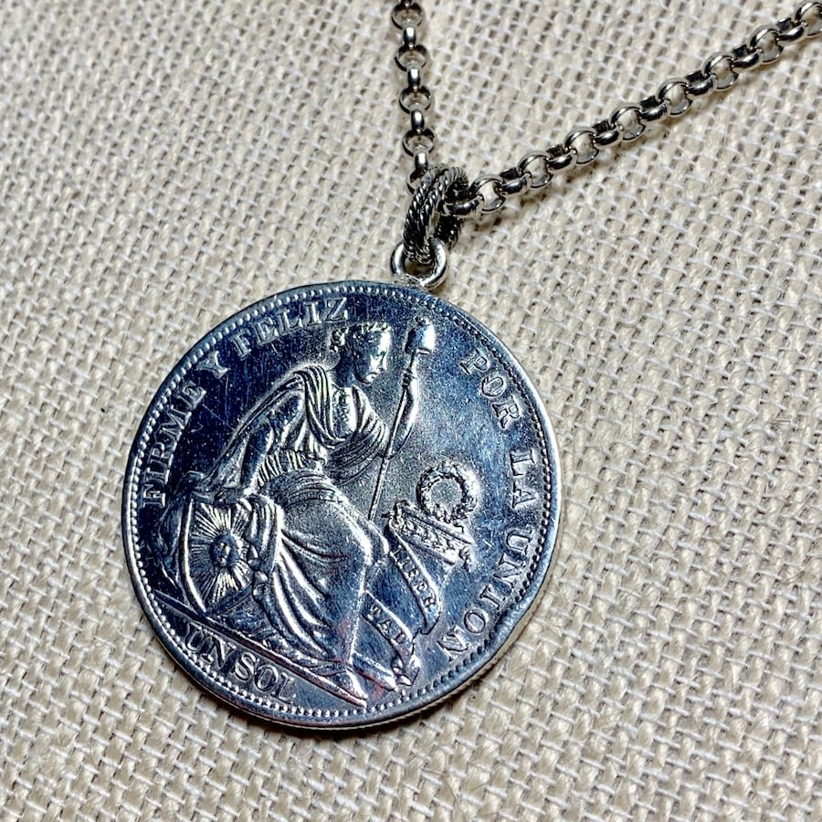 Antique Peruvian Silver Coin Pendant with Sterling Silver Chain d66ba087-128d-4f4a-b03a-1195d1b07e9e