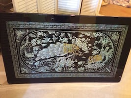 Peacock marbled art framed folding coffee table
