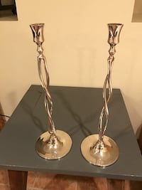 two silver-colored candle holders Deal, 07723