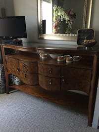Wooden Sideboard with Glass Top Calgary, T3H 3P8