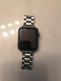 black Apple Watch  awith silver link bracelet