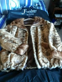 brown and white fur jacket Mount Vernon, 10550