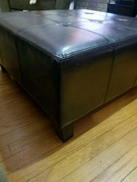tufted black leather ottoman Wilmette, 60091