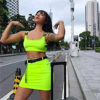 SHEMODA URBAN ATMOS CAMISOLE BRIGHT COLOR SHIRT WITH MATCHING CROP TOP Istanbul