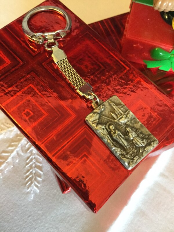 Keychain new in the box / Catholics image on both side embossed